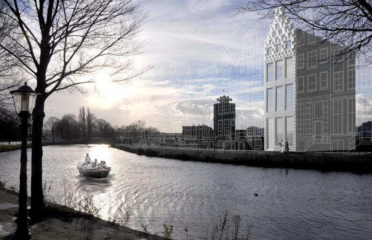 Visualization of 3D printed canal house in Amsterdam. (Photo: DUS Architects)