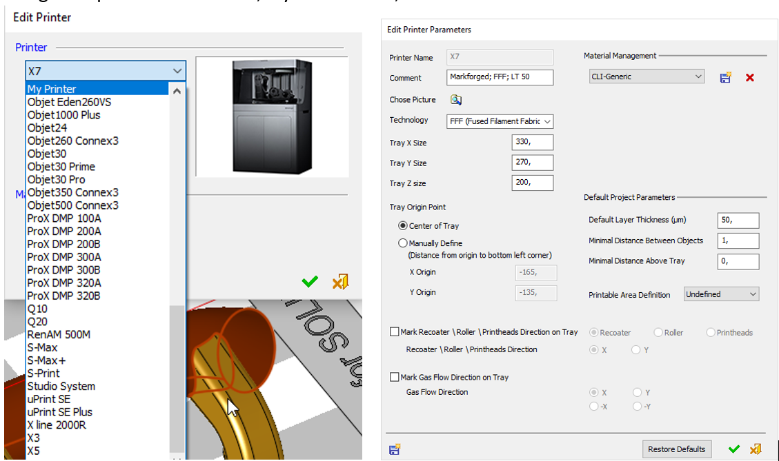 edit printer parameters